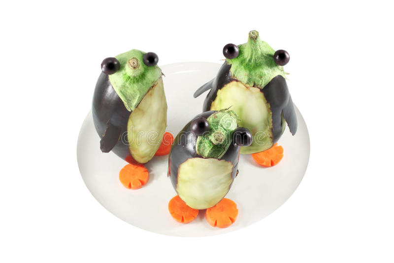 Pinguini fatti dalle melanzane immagine stock libera da diritti