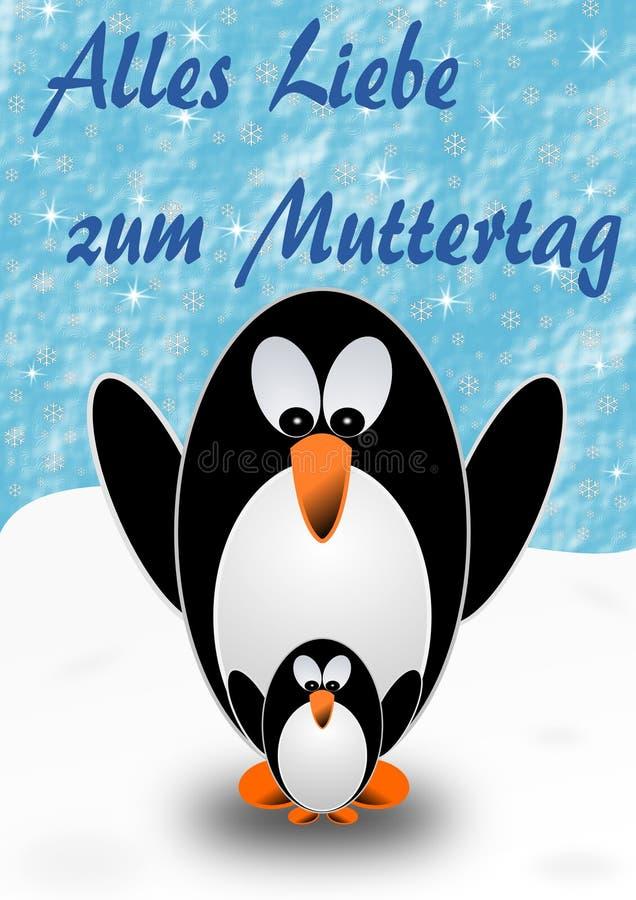 2 pinguini, madre e bambino, con i saluti di festa della Mamma in tedesco illustrazione vettoriale