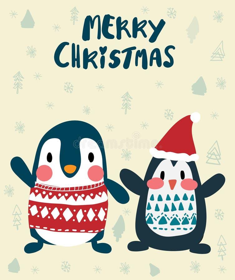 Pinguini nella carta di Buon Natale di inverno royalty illustrazione gratis