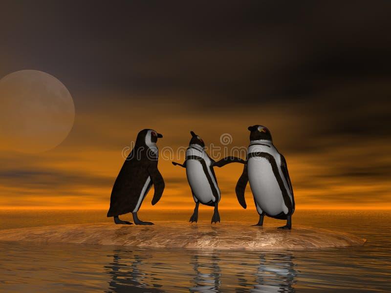 Pinguini su ghiaccio illustrazione vettoriale