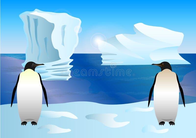 Pinguini sui precedenti di ghiaccio, iceberg, stile assorbito del fumetto illustrazione vettoriale