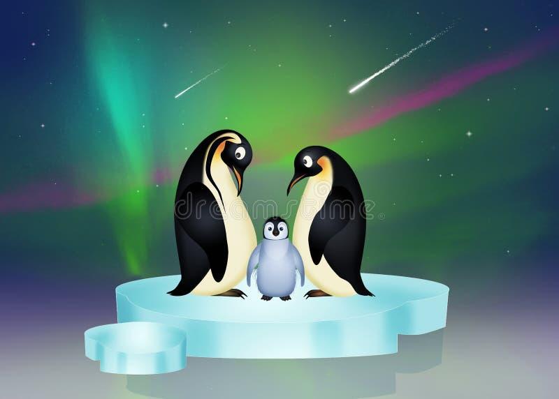 Pinguini sull'iceberg e sull'aurora boreale illustrazione di stock