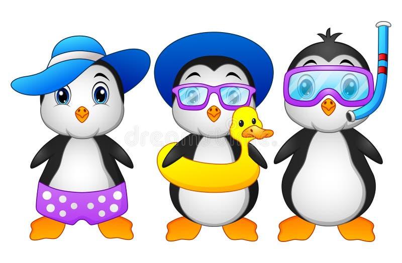 Pinguini svegli del fumetto nella vacanza estiva illustrazione vettoriale