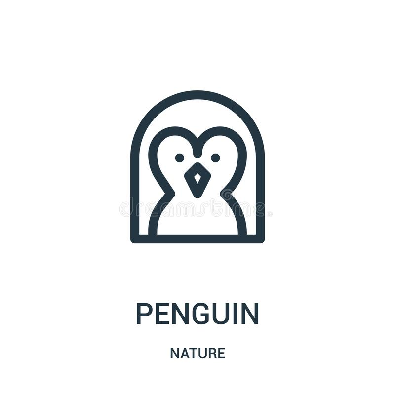 Pinguinikonenvektor von der Natursammlung Dünne Linie Pinguinentwurfsikonen-Vektorillustration Lineares Symbol für Gebrauch auf N lizenzfreie abbildung