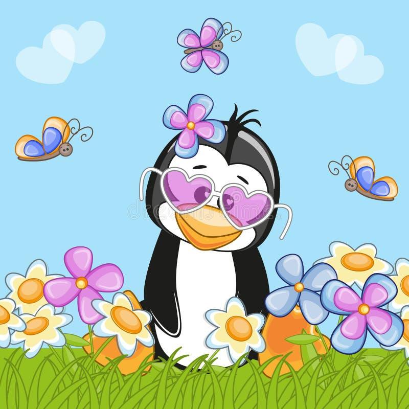Pinguino con i fiori illustrazione vettoriale