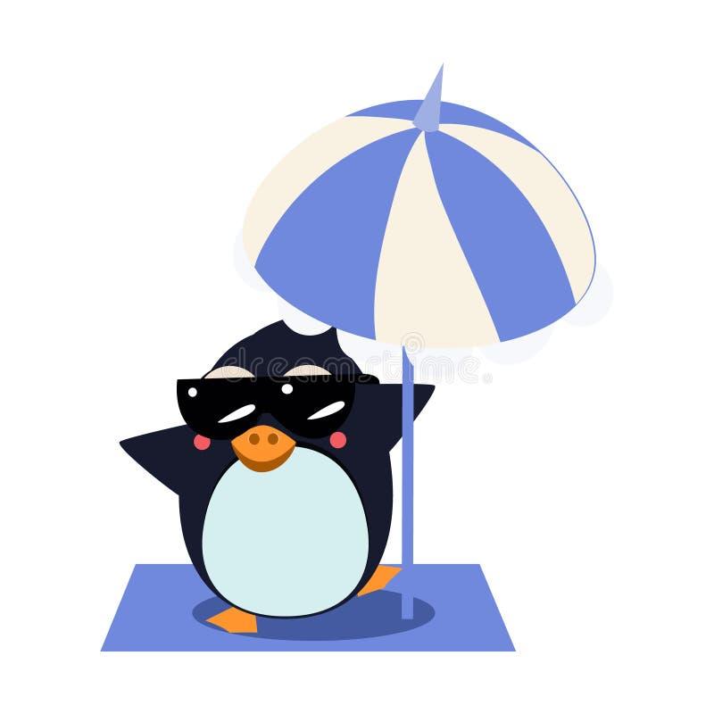 Pinguino con l'ombrello sull'iceberg Illustrazione di vettore illustrazione di stock