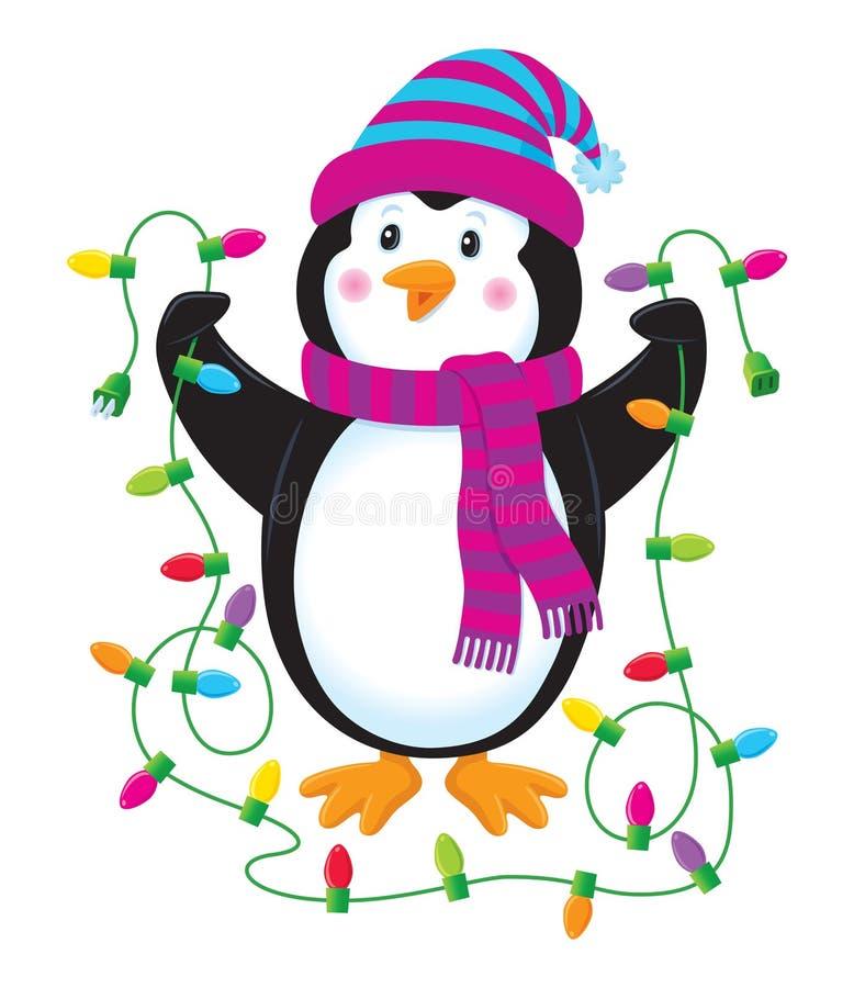 Pinguino con le luci di natale royalty illustrazione gratis