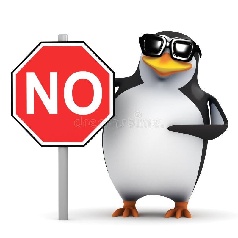 pinguino 3d con un nessun segno illustrazione di stock