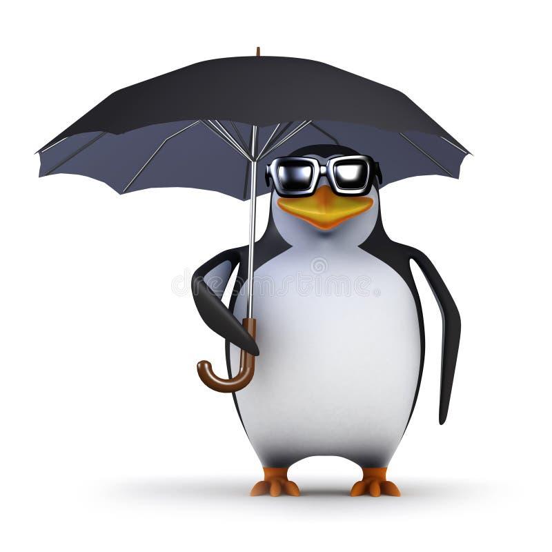 pinguino 3d sotto l'ombrello royalty illustrazione gratis