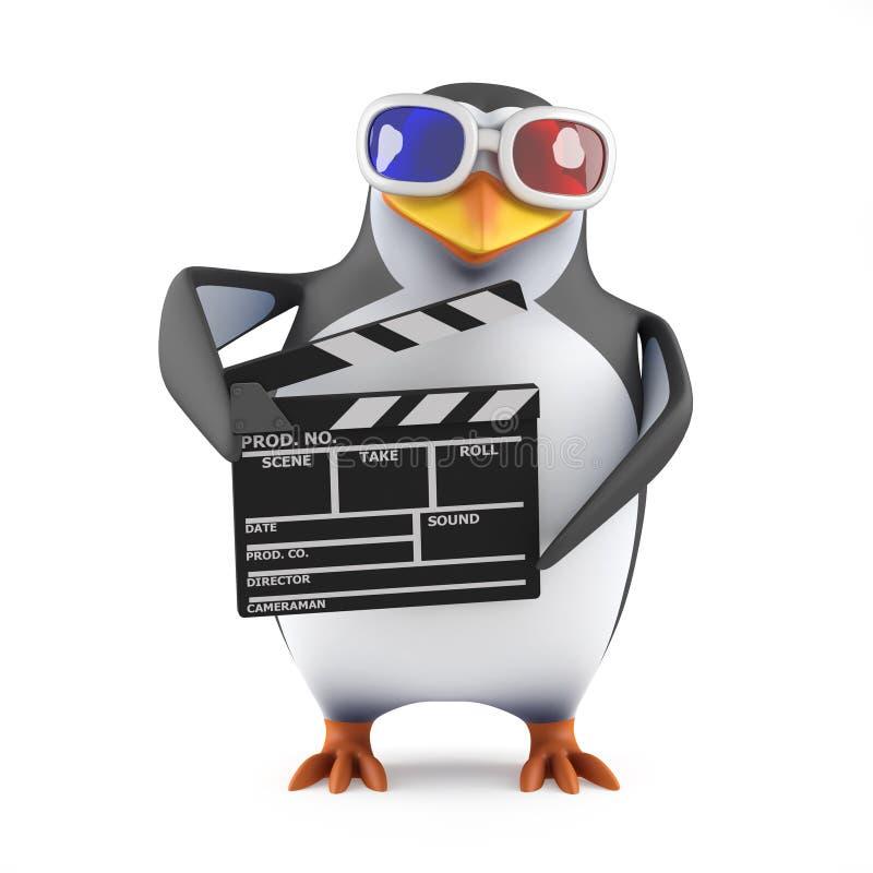 pinguino 3d in vetri 3d che tengono un ciac illustrazione di stock