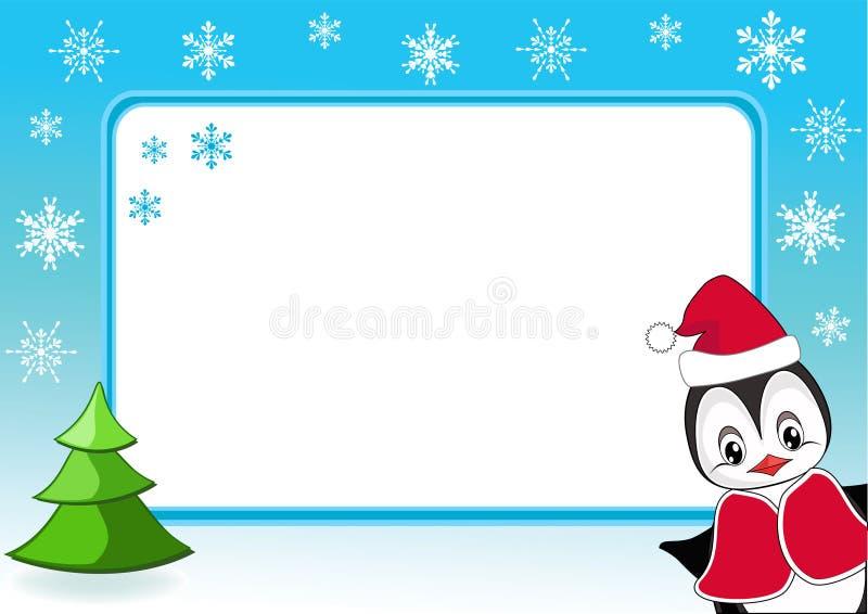 Pinguino del bambino. Blocco per grafici della foto di natale. royalty illustrazione gratis