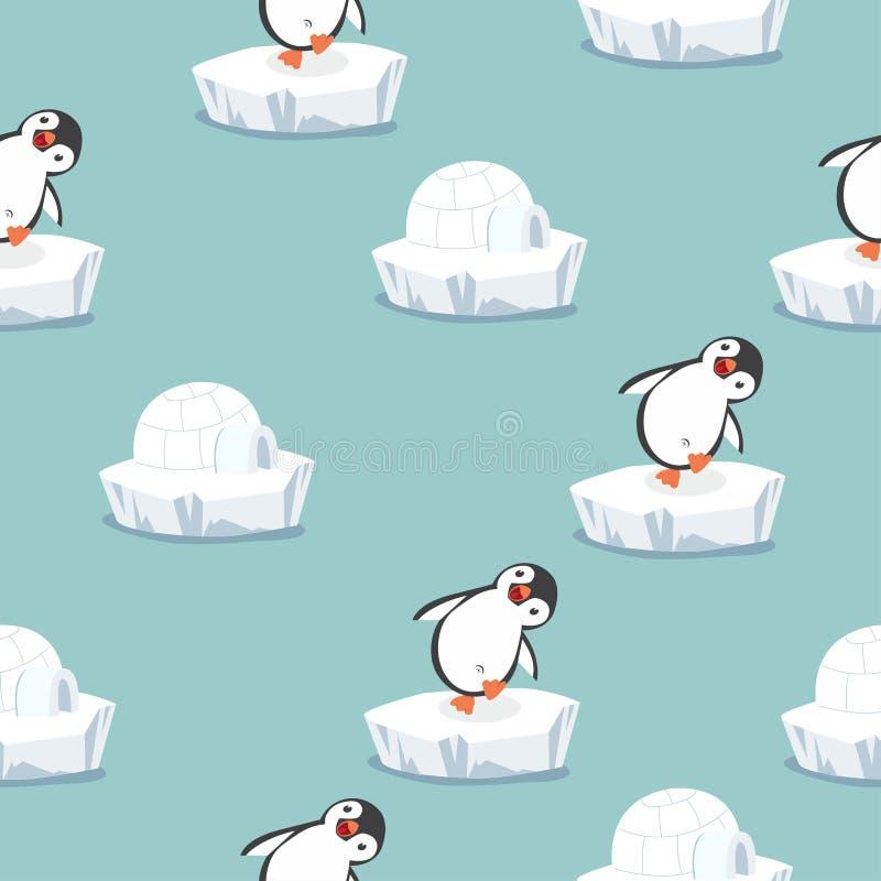 Pinguino divertente con il modello della ghiacciaia dell'iglù illustrazione di stock