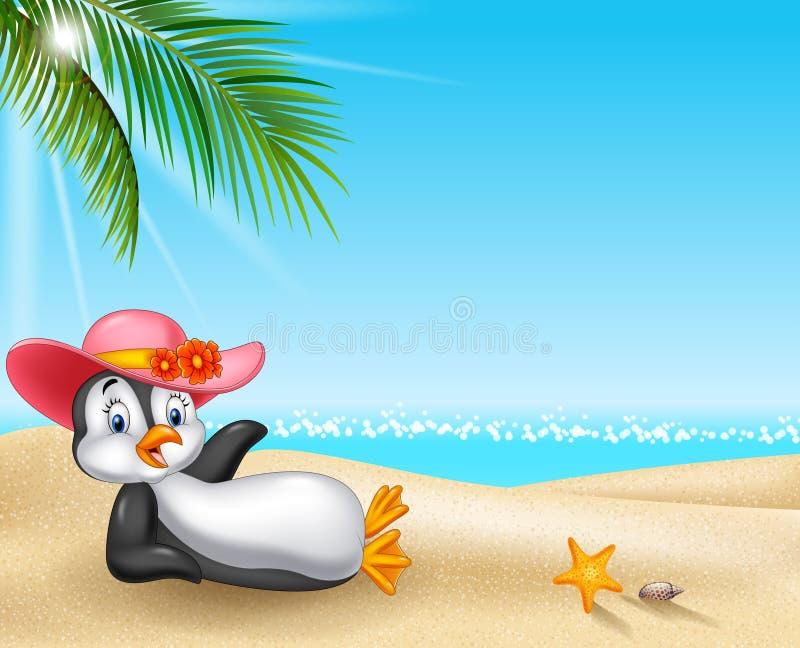 Pinguino femminile del fumetto che si rilassa sulla spiaggia royalty illustrazione gratis