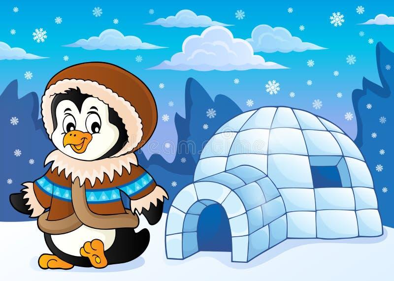 Pinguino nel tema 2 dell'abbigliamento di inverno illustrazione vettoriale