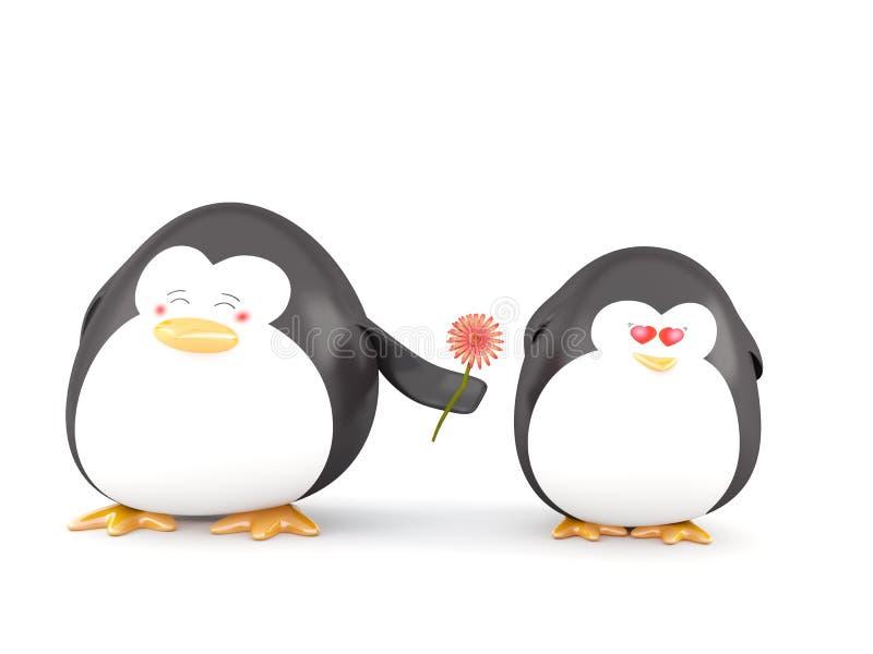 Pinguino nell'amore illustrazione di stock