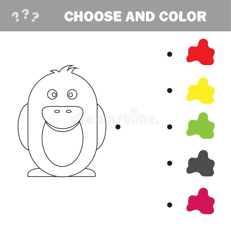 Pinguino - pagina della pittura, gioco per i bambini e bambini illustrazione vettoriale
