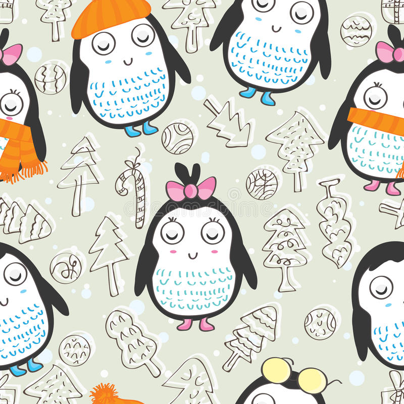 Pinguino Pattern_eps senza cuciture illustrazione vettoriale