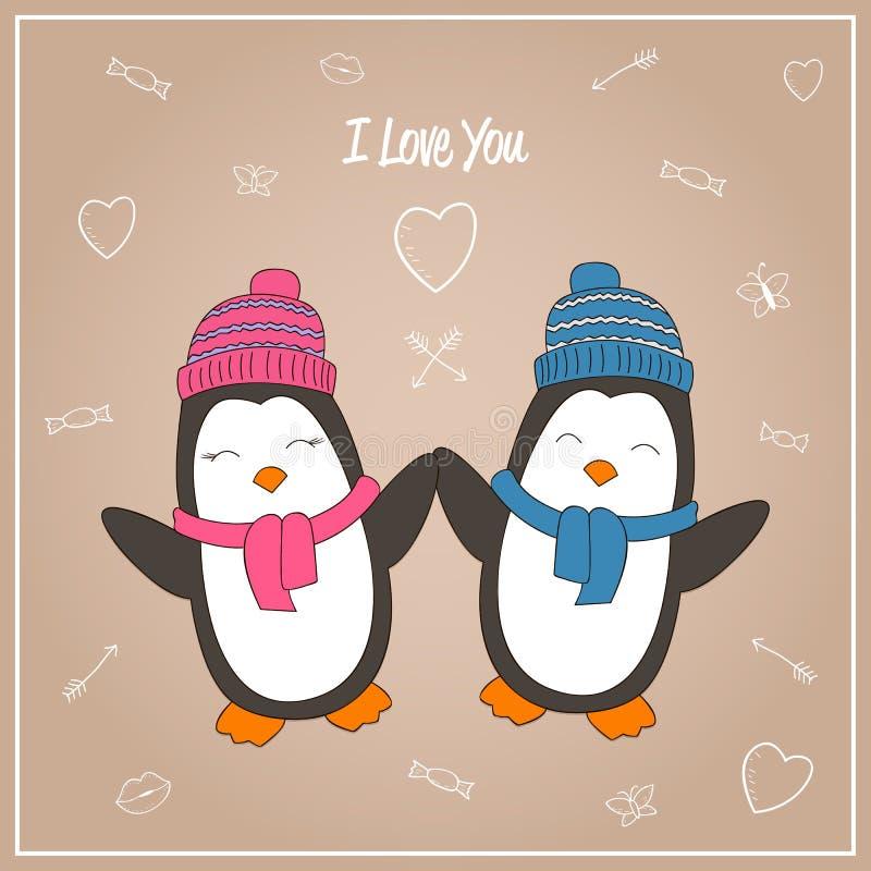 Pinguino romantico delle coppie illustrazione vettoriale