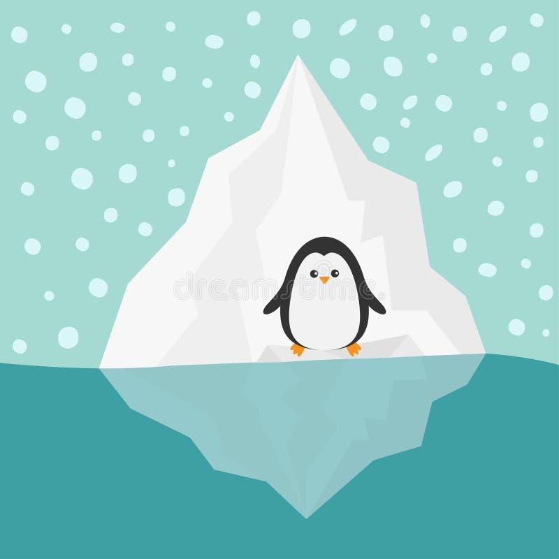 Pinguino sulla neve dell'acqua blu dell'iceberg nei precedenti piani di inverno di progettazione del cielo illustrazione di stock