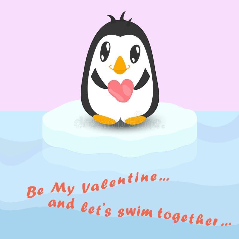 Pinguino sveglio con la pietra nella forma del cuore sull'iceberg illustrazione di stock