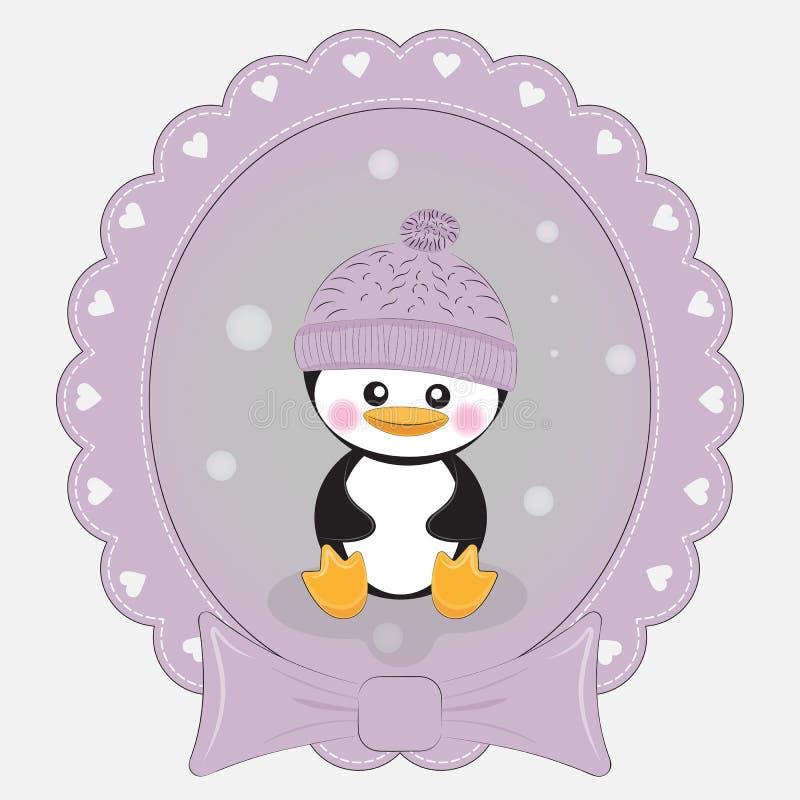 Pinguino sveglio del fumetto della cartolina d'auguri su un fondo lilla Bello blocco per grafici royalty illustrazione gratis