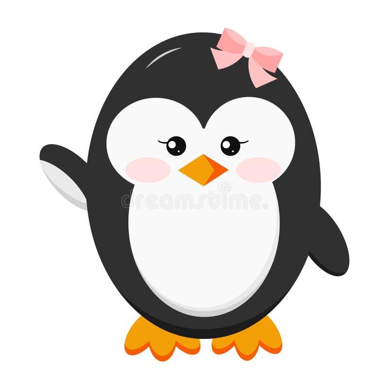 Pinguino sveglio divertente dolce della neonata con l'icona dell'arco ciao nella posa stante isolata su fondo bianco royalty illustrazione gratis