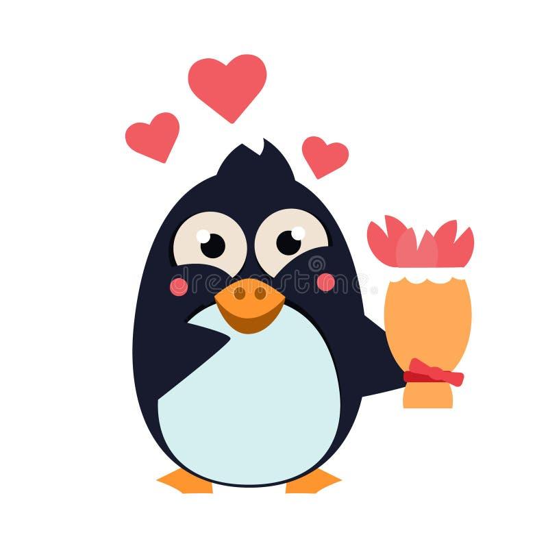Pinguino sveglio sull'iceberg con i fiori Illustrazione di vettore illustrazione vettoriale