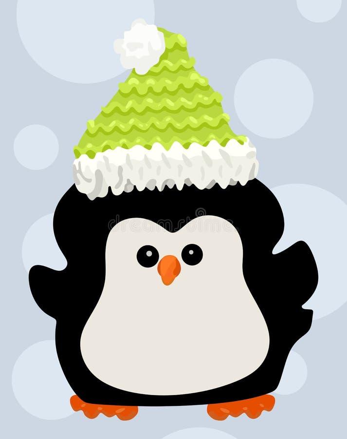 Pinguino sveglio in un cappello illustrazione di stock