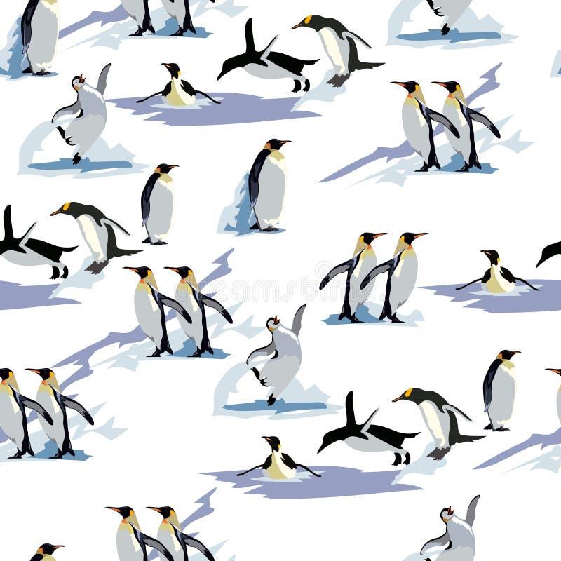 Pinguins无缝的样式 pinguins无缝的样式,冬天 向量背景 这个样式适用于冬天 向量例证