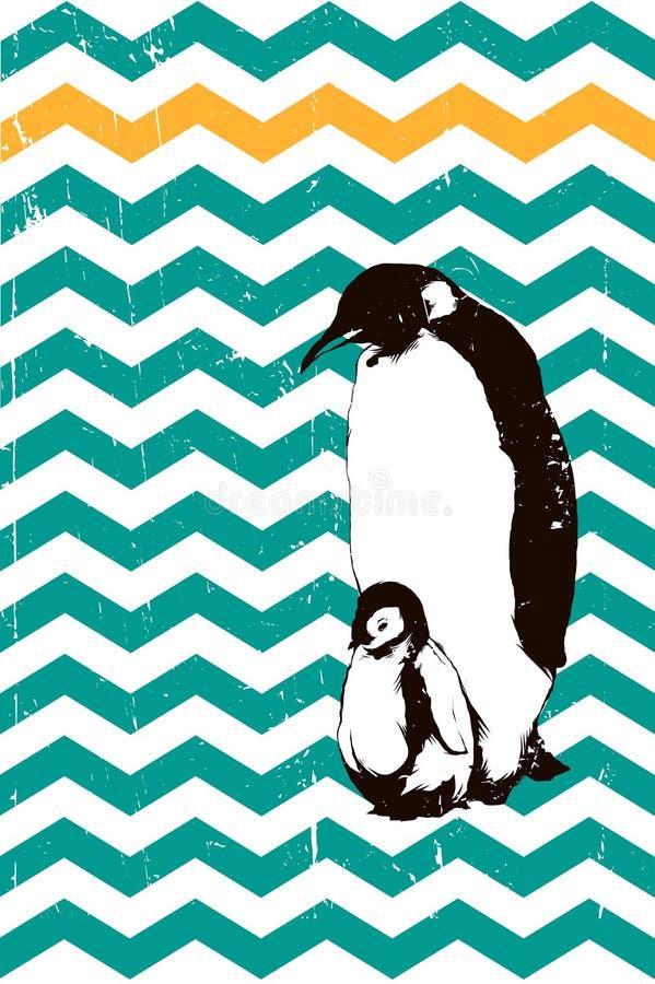 Pinguins bebê e pai ilustração stock