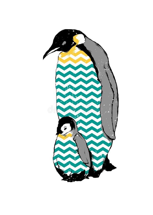 Pinguins bebê e pai ilustração royalty free
