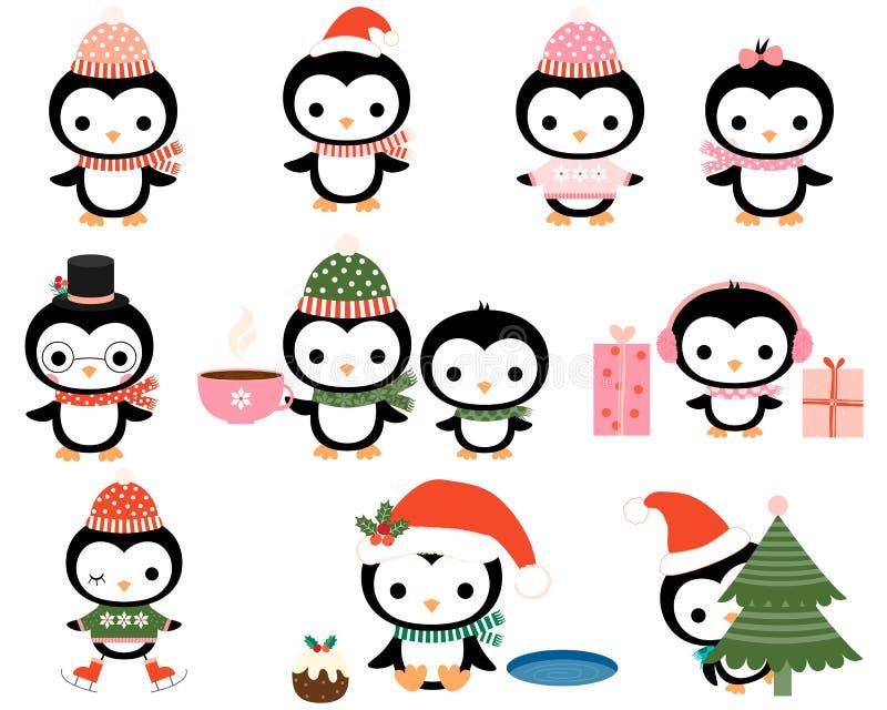 Pinguins bonitos do Natal ajustados ilustração royalty free