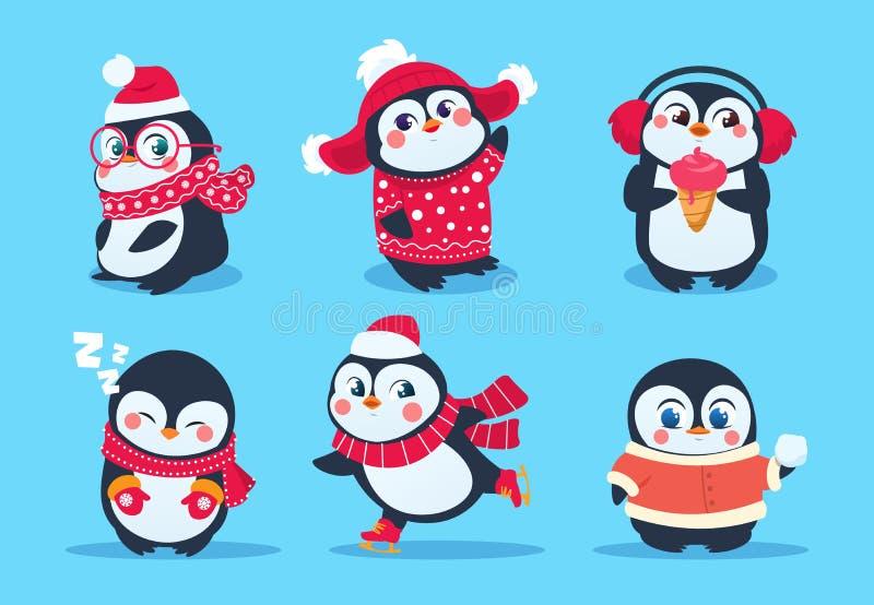 pinguins Caráteres do pinguim do Natal na roupa do inverno Mascote bonitos dos desenhos animados do vetor do feriado do Xmas ilustração stock