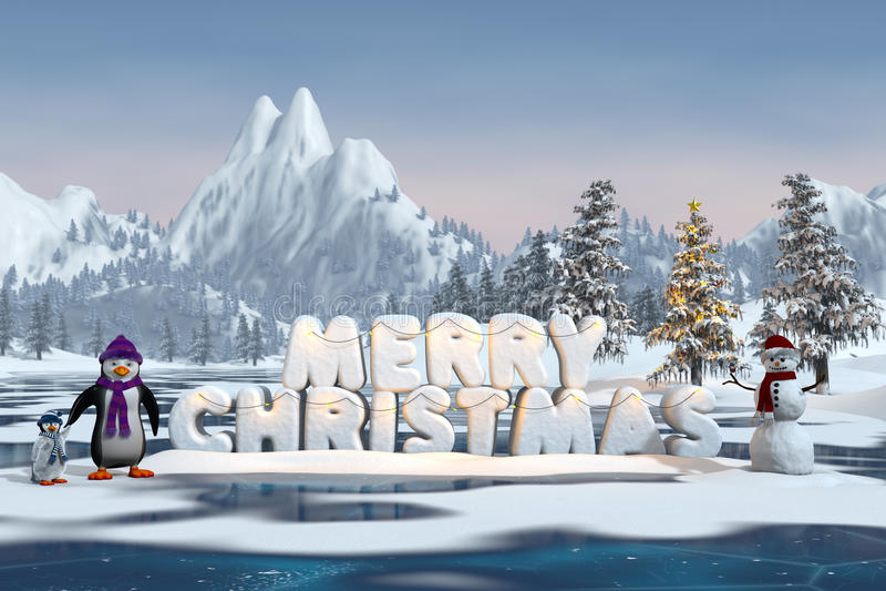 Pinguins com o Feliz Natal das palavras ilustração do vetor