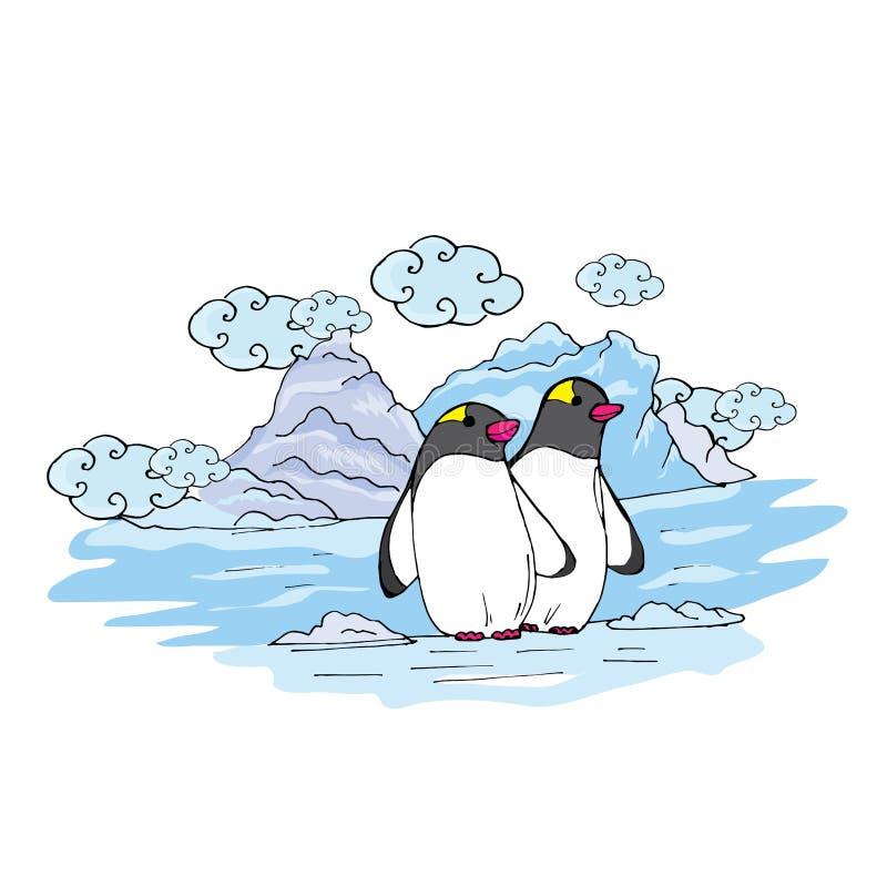Pinguins da garatuja em uma banquisa de gelo próximo imagem de stock
