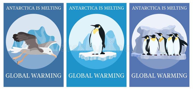 Pinguins da proteção do clima do cartaz da seleção ilustração royalty free