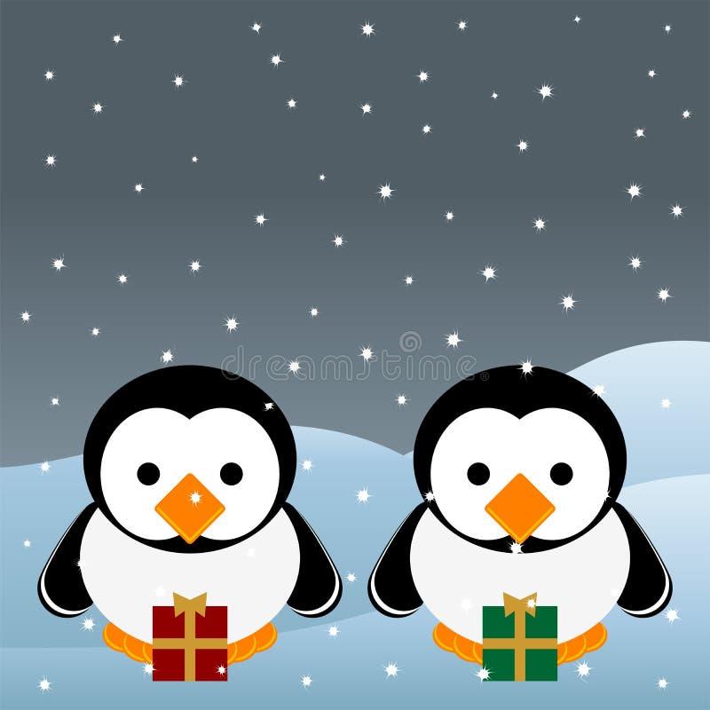 Pinguins do Natal ilustração do vetor