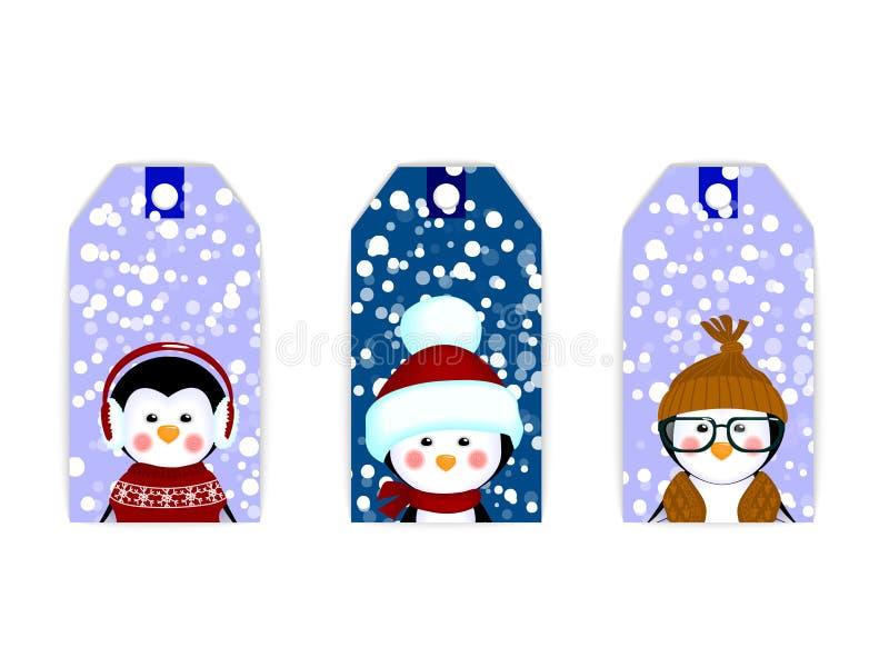 Pinguins do Natal do cartão da etiqueta da etiqueta ilustração royalty free