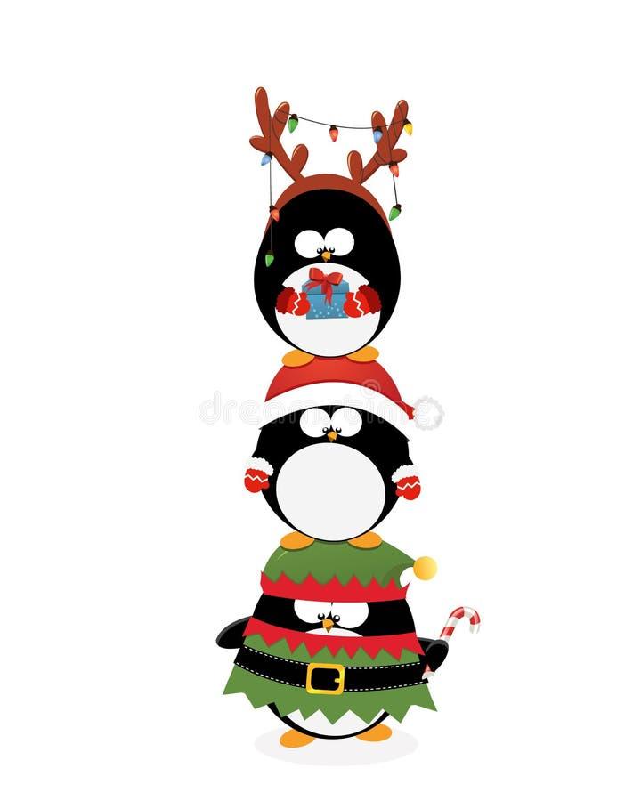 Pinguins do Natal empilhados acima ilustração stock