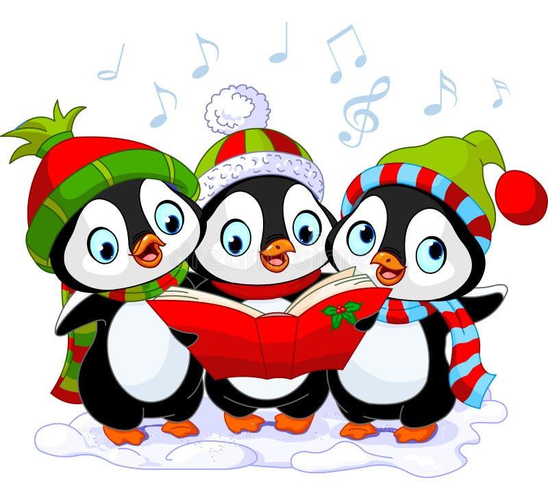 Pinguins dos carolers do Natal ilustração stock