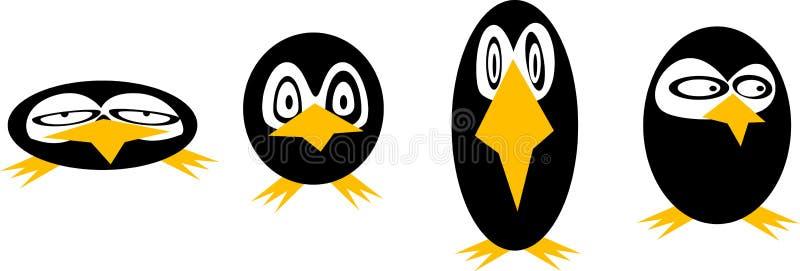 Pinguins, estilizados ilustração royalty free