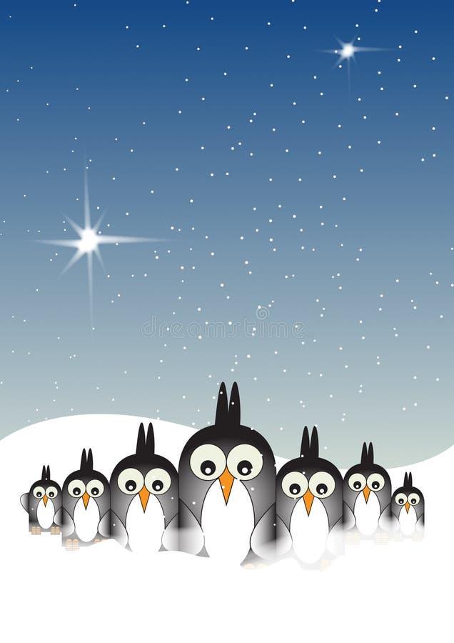 Pinguins nevado ilustração do vetor
