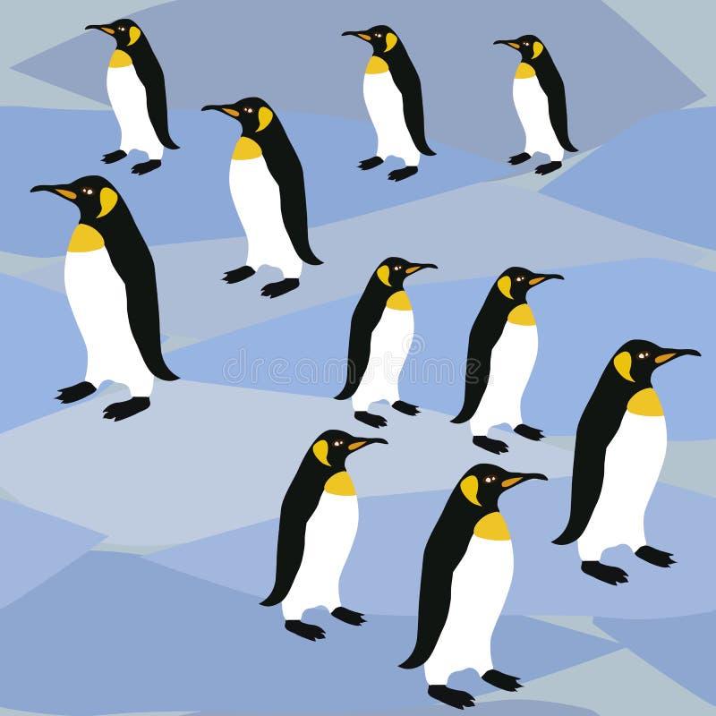 Pinguins no teste padrão de superfície do gelo, pinguins de imperador do teste padrão do rei Penguins Winter Repeat para o projet ilustração stock