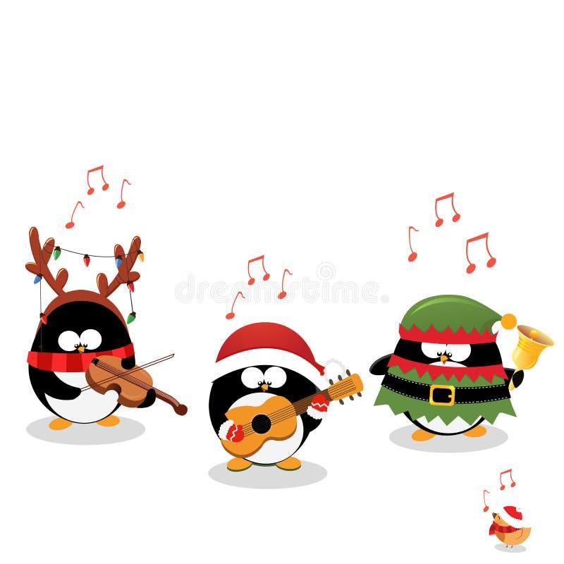 Pinguins que jogam a música do Natal ilustração royalty free