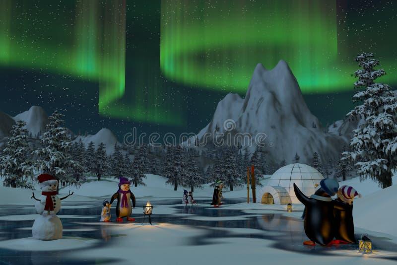 Pinguins sob a aurora boreal em uma paisagem do inverno ilustração royalty free