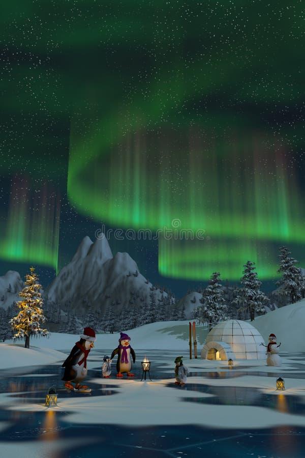 Pinguins sob a aurora boreal no tempo do Natal ilustração stock
