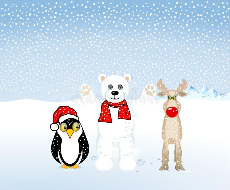 Pinguins, ursos polares e rena ilustração do vetor