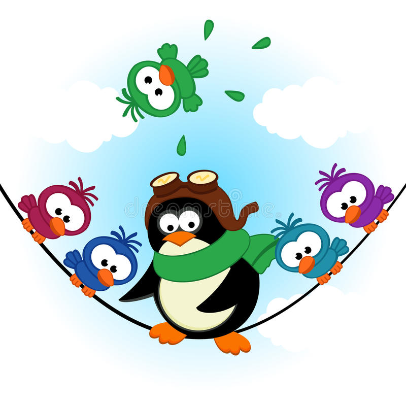 Pinguinvögel auf elektrischem Draht vektor abbildung
