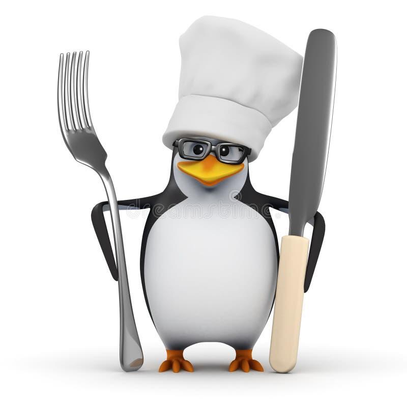 pingvin för kock 3d med kniven och gaffeln royaltyfri illustrationer
