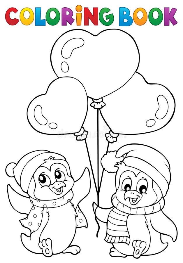 Pingvin 1 för valentin för färgläggningbok vektor illustrationer